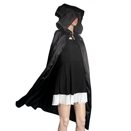 [Halloween Hooded Cloak,Neartime Coat Wicca Robe Medieval Cape Shawl Ghost Party (XL, Black)] (Hogwarts Costumes For Girls)