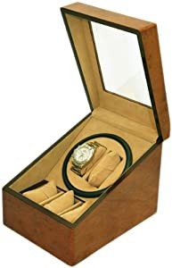 BRAND NEW WALNUT COLOR 2+3 AUTOMATIC DUAL / DOUBLE WATCH WINDER + 3 DISPLAY STORAGE BOX BATTERY OR AC/DC POWER