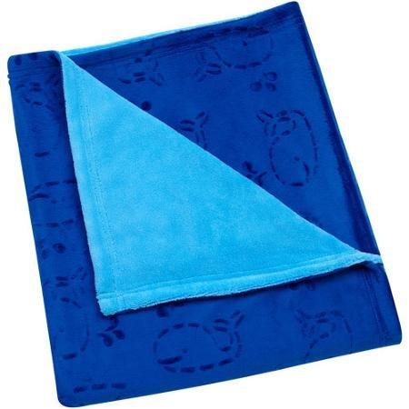 Baby Boy Sheared Velboa Whale Blanket Blue - 1