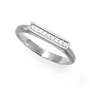 0.08 Ct Diamond Art Deco Band 14K White Gold Engagement Ring Size 9 Unique Women Jewelry Gift