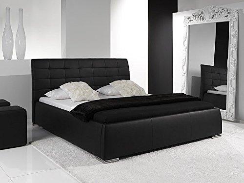 Bett Polsterbett schwarz Clark Bettgestell in verschiedenen Größen Kunst-Lederbett Ehebett, Größe:160 x 200