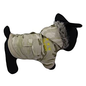 Alfie Couture Designer Pet Apparel – Hem Camouflage Hooded Coat with Detachable Pants – Color