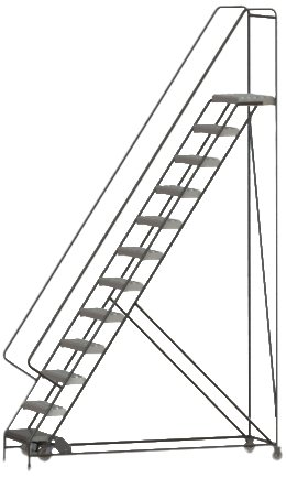 Tri-Arc WLAR112245 12-Step All-Welded Aluminum Rolling Industrial & Warehouse Ladder with Handrail, Grip Strut Tread