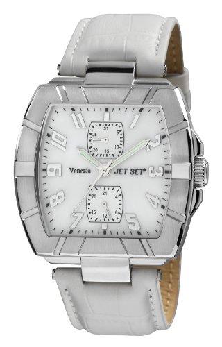 Jet Set J32144-161 - Reloj cronógrafo de cuarzo para hombre con correa de piel, color blanco