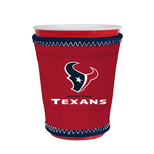 NFL Team Coolie Cup Holder Sleeve Fitting Plastic Cups, Pint Glasses, Coffee Cups, Ice Cream, Etc. - Neoprene and Bottomless (Houston Texans) (Houston Texan Coffee Cup compare prices)