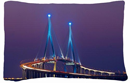 Microfiber Peach Queen Size Decorative Pillowcase -City Asia South Korea City Songdo Bridge Backlight Exposure Lights Night Lilac Violet Sky front-898769
