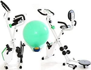 4in1 Fitness X Bike Home Workout Gym Master Exercise Machine in White & Green with 3kg Flywheel, Twister, Dumbbells, Power Cords and Back Support