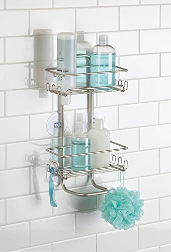 mDesign Bath Suction Shower Caddy in Silver