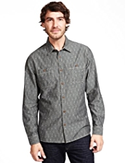 North Coast Pure Cotton Chambray Ikat Print Shirt