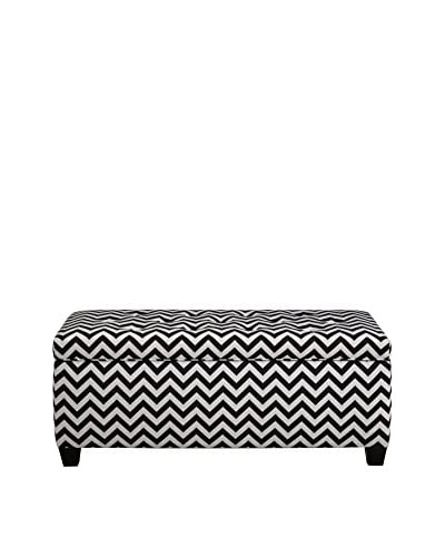 MJL Furniture Sole Secret Small Upholstered Shoe Storage Bench, Black/White