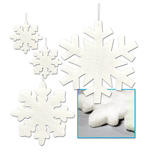 Beistle 20367 4 Count Assorted Fluffy Snowflakes