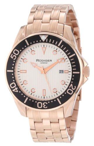 Rudiger Men's R2000-09-001 Chemnitz Rose Gold IP Coated Rotating Bezel Silver Luminous Dial Watch