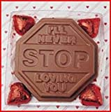 Valentines Day Gift Alternative Solid Milk Chocolate Ill Never Stop Loving You Unique Novelty Gourmet Candy Gift Boxed Stop Sign for Adults , Children & Lovers