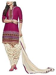 Angel Fashion Studio Women's Cotton Dress Material (Purple)