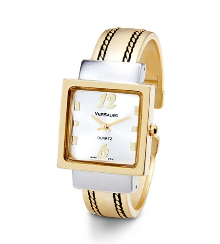 Women's Two Tone Milgrain Square Bezel Bangle Watch