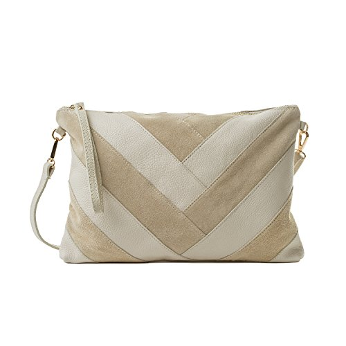 Almo - Borsa in pelle da donna made in Italy, colore: beige a tracolla o a spalla
