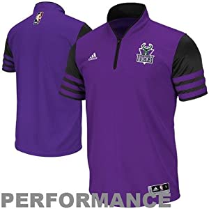 NBA adidas Milwaukee Bucks Shooter ClimaCOOL Quarter Zip T-Shirt - Purple by adidas
