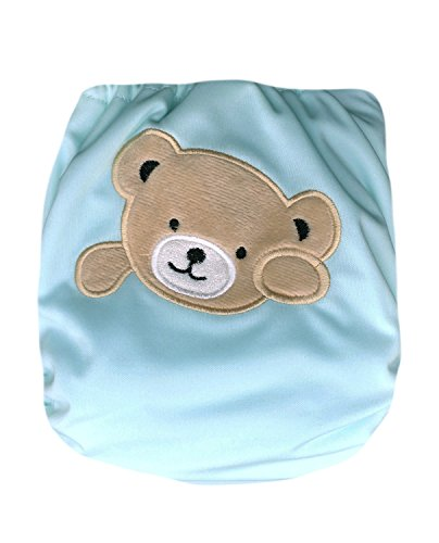 "Kawaii Baby Heavy Duty One Size Velcro Cloth Diaper W/2 Inserts ""Bear"""