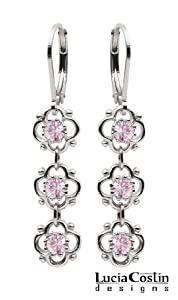 .925 Sterling Silver Dangle Earrings Amazingly Designed by Lucia Costin with 4 Petal Flowers Surrounded by Dots, Crafted with Lilac Swarovski Crystals