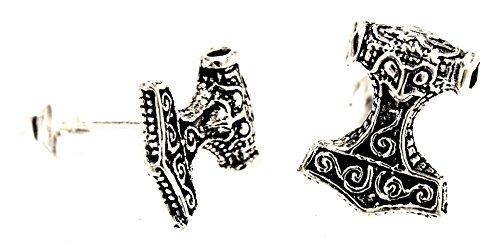 Kiss of Leather - Orecchini in argento Sterling 925, motivo martello di Thor