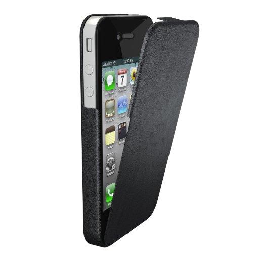 Etui en Cuir Véritable de couleur noire pour iPhone 4