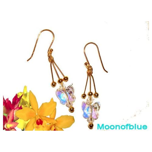 Stunning Swarovski Crystal Butterfly Earrings   14K Gold