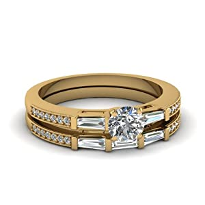 1.10 Ct Round Cut Diamond 3 Stone Bridal Engagement Rings Set W Milgrain 14K GIA Certificate # 6162269692