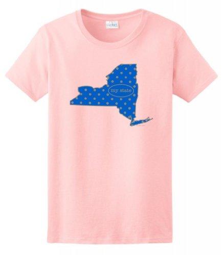 New York My State Blue Grey Polka Dot Pattern Ladies T-Shirt Medium Light Pink front-1075151
