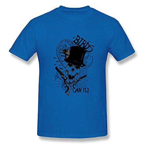 Cpy Men'S Skull Design Cotton T Shirt Tee Royalblue M