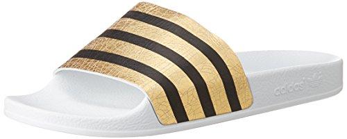 Adidas Adilette W -  Sandali a Punta Aperta Donna, colore multicolore (goldmt/ftwwht/ftwwht), taglia 39 EU