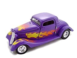 1934 Ford 3 Window Coupe Hot Rod Purple Diecast 1/24