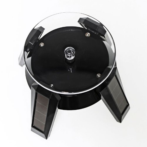 Black Solar Powered Jewelry Phone Watch 360° Rotating Display Stand Turn Table with LED Light