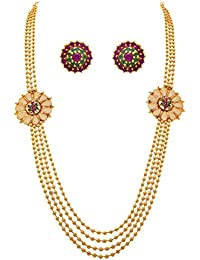 JFL - Traditional Glittering One Gram Gold Plated Bead Designer Long Necklace Set For Women.