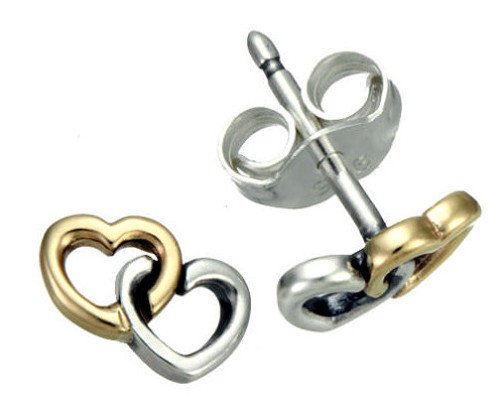 Pandora Earrings Two Tone Heart to Heart Studs 290567 (Two Tone Heart Ring compare prices)