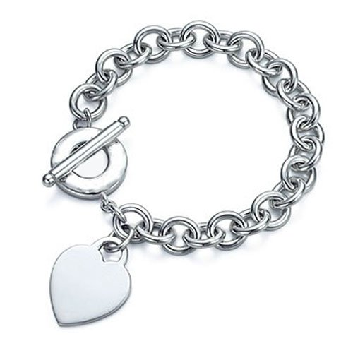Sterling Silver Heart Tag Charm Toggle Bracelet