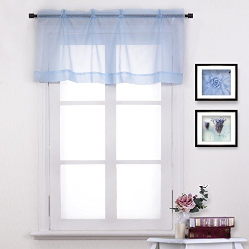 NICETOWN Window Treatment Tiers / Valances Curtain Panel (One Piece, W60 x L20, Turquoise ) (Light Blue Valances For Windows compare prices)