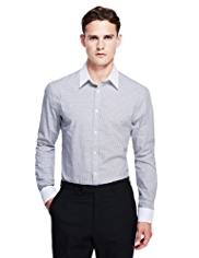 Autograph Pure Cotton Slim Fit Checked Shirt