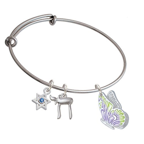 Large Translucent Purple & Lime Green Flying Butterfly Chai And Star Of David Expandable Bangle Bracelet