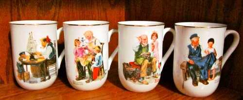 Set Of Four Norman Rockwell Museum Ceramic Mugs/Cups (The Toymaker; The Cobbler; For A Good Boy; The Lighthouse Keeper'S Daughter) Trimmed With 24 Karat Gold