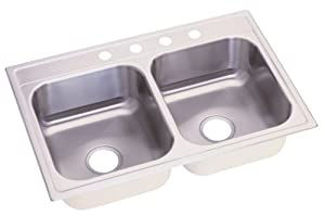 Elkay NLB33224 Neptune 33-by-22-by-8-Inch Double Bowl Kitchen Sink, Stainless Steel