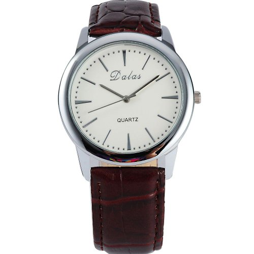 AMPM24 Women Lady Mens Luxury Coffee Leather Sport White Dial Quartz Wrist Watch