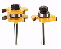 2Pcs Tongue & Groove Router Bit Set 1/4 Inch Shank 3 Teeth T-shape Wood Milling Cutter by Abcstore99