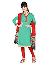 Indian Designer Bollywood Casual Wear Bhagalpuri Silk Turquoise Unstitched Branded A-line pattern Salwar Suit Dress Material for ladies by Lookslady