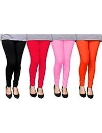 Devaas Women's Black Red Pink Orange Color Leggings (pack Of 4)