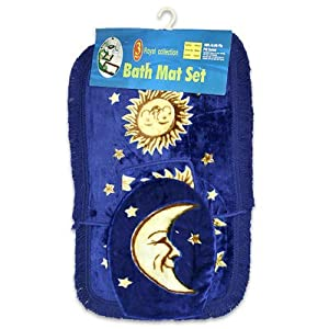 Celestial astrology blue gold bath mat set for Blue and gold bathroom accessories