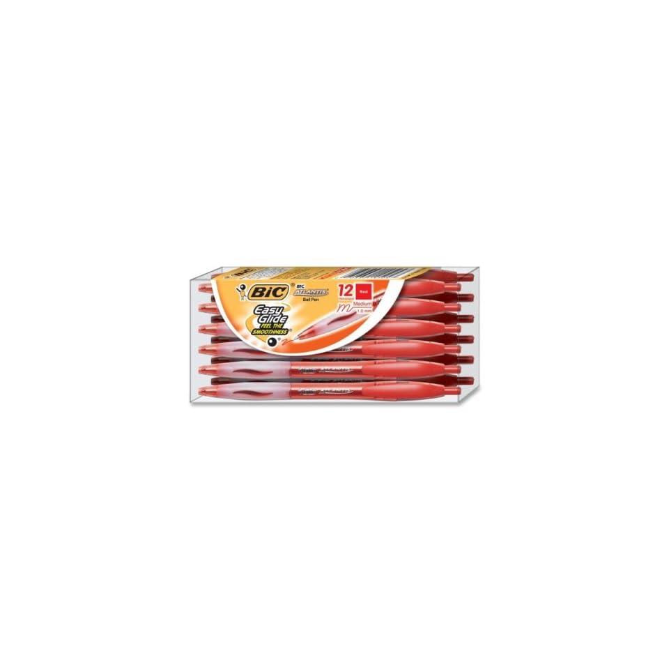 BIC Atlantis Ballpoint Pen,Ink Color Red   Barrel Color Translucent   12 / Dozen