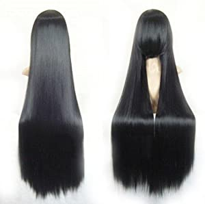 "Cool2day 40"" Straight Costume Play Party Wig+wig Cap (Black) (Model: Jf010066)"