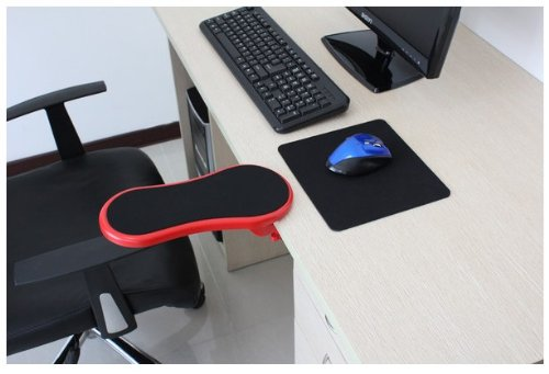 Ergonomic, Adjustable Computer Desk Extender Arm Wrist Rest Support (RED)