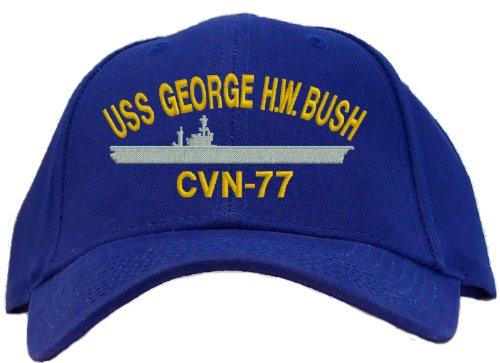 Uss George H.W. Bush Cvn-77 Embroidered Baseball Cap - Royal front-489011