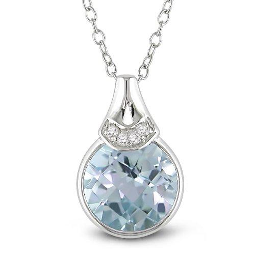 Sterling Silver 3 1/2 CT TGW Sky Blue Topaz 0.02 CT TDW Diamond Traditional Pendant (G-H, I2-I3)